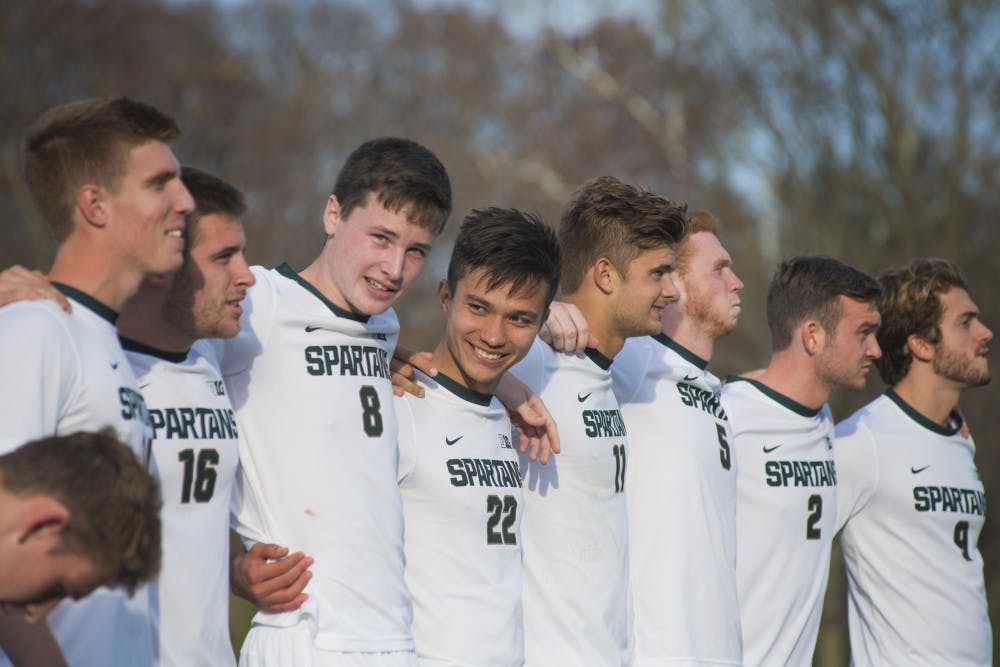 The Spartans embrace each other during the NCAA tournament during the game against SIUE on Nov. 17, 2016 at DeMartin Stadium. The Spartans were defeated by the Cougars in a shoot out, 9-8.
