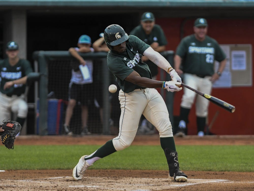Freshman outfielder Zaid Walker (3) swings during the 13th Annual Crosstown Showdown on Sept. 3, 2019 at Cooley Stadium in Lansing. The Lugnuts defeated the Spartans, 5-1.