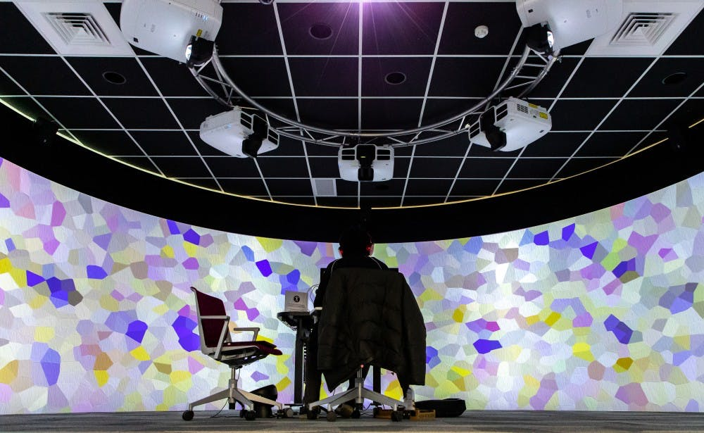 The 360-degree immersive visualization room is pictured on March. 13, 2019 at Digital Scholarship Lab in MSU Main Library.