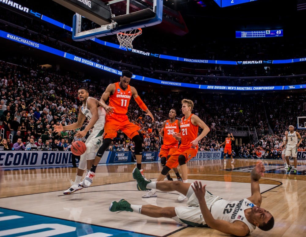 <p>Sophomore guard Miles Bridges (22) reacts during the second half of the &nbsp;game against Syracuse on March 18, 2018 at Little Caesars Arena in Detroit. The Spartans fell to the Orange, 55-53 ending their NCAA journey.&nbsp;</p>