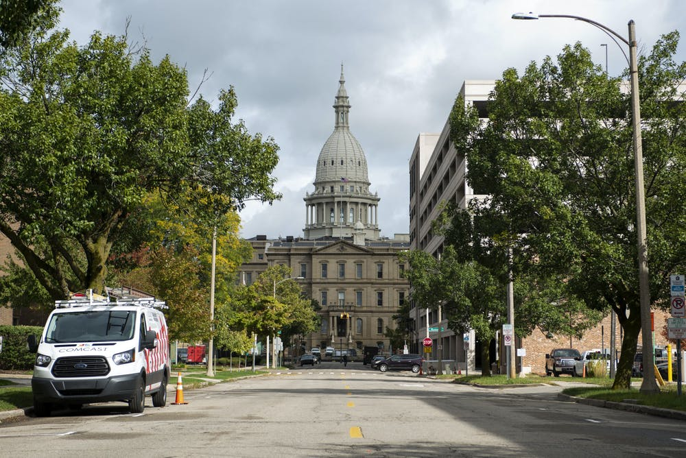 <p>Lansing Capitol building shot from Townsend Street. Photographed on Oct. 1, 2020.</p>