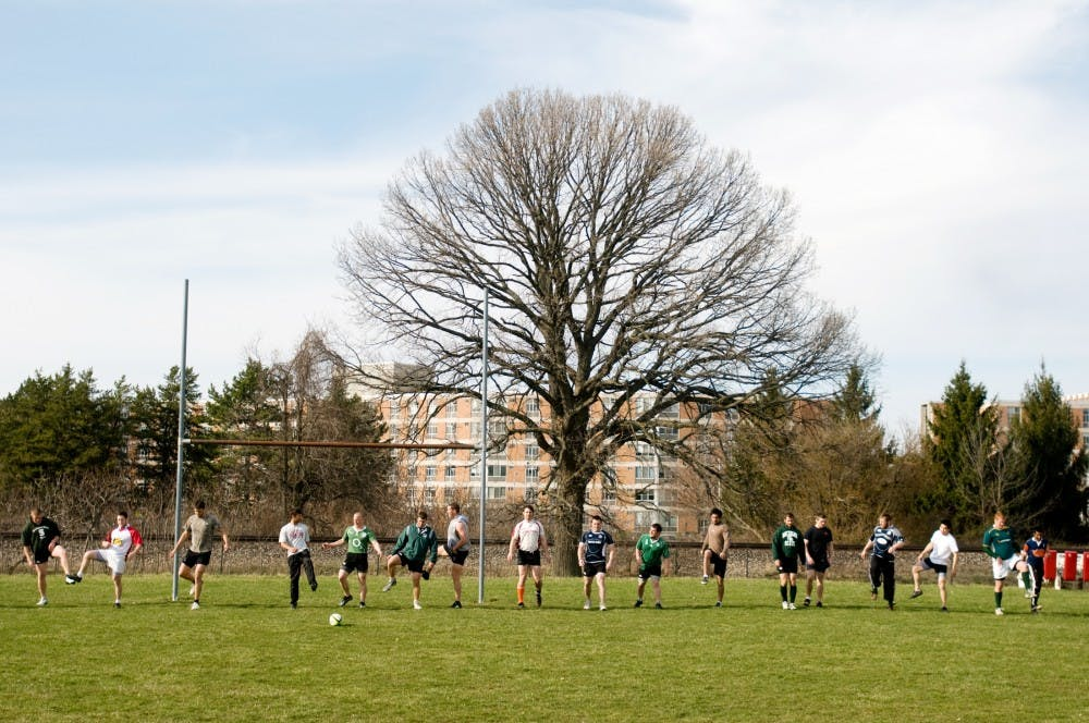 "<p>The <span class=""caps"">MSU</span> Rugby Football Club practices Thursday at the Service Road fields on campus. The team finished 15th in the nation this year. Kat Petersen/The State News</p>"