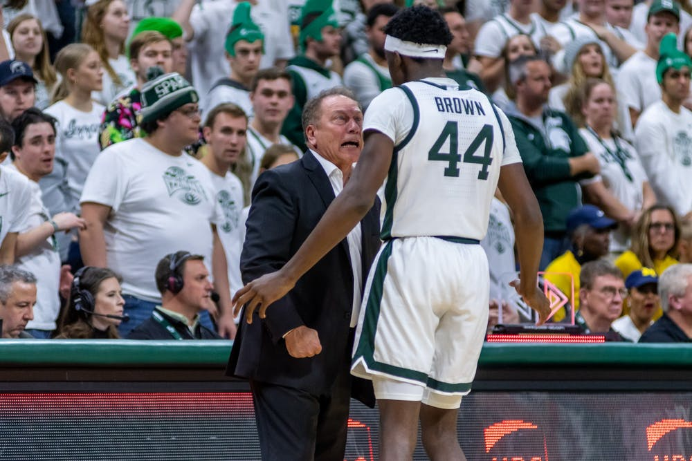 <p>Coach Tom Izzo (left) yells at sophomore forward Gabe Brown (44). The Spartans defeated Michigan, 87-69, at the Breslin Student Events Center on Jan. 5, 2020. </p>