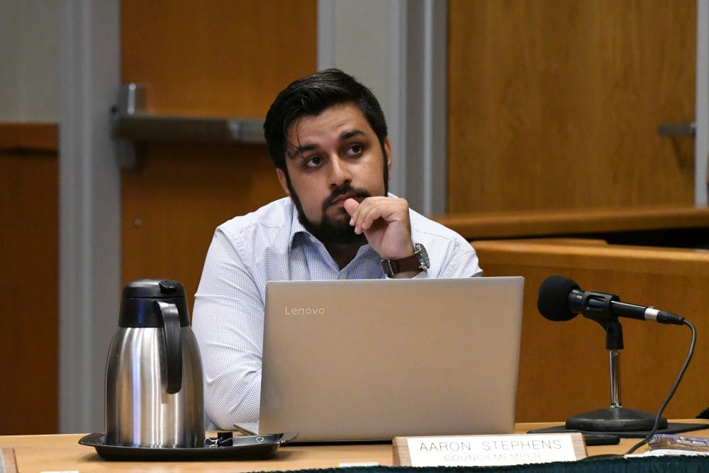 <p>Council member Aaron Stephens at the July 16 East Lansing City Council meeting.</p><p></p>