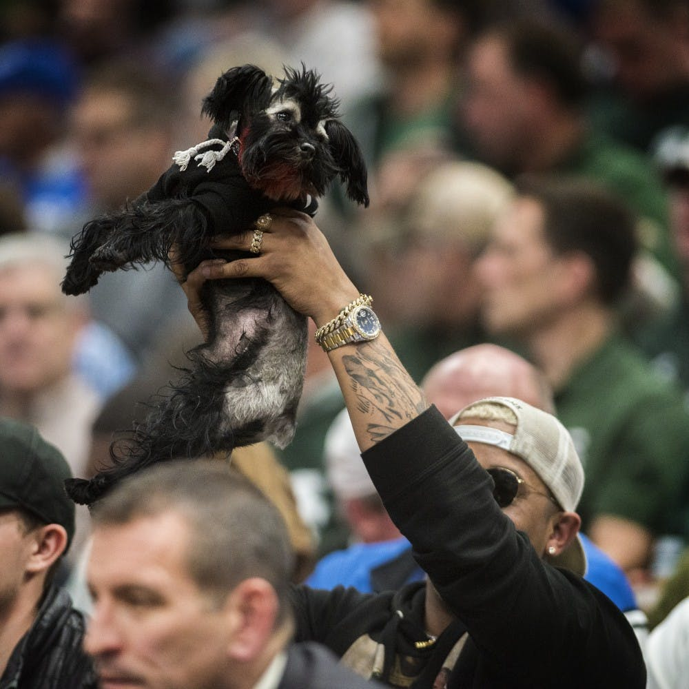 A man holds up a dog during the Championship Classic during the game against Duke on Nov. 14, 2017 at the United Center. The Spartans were defeated by the Blue Devils, 81-88.