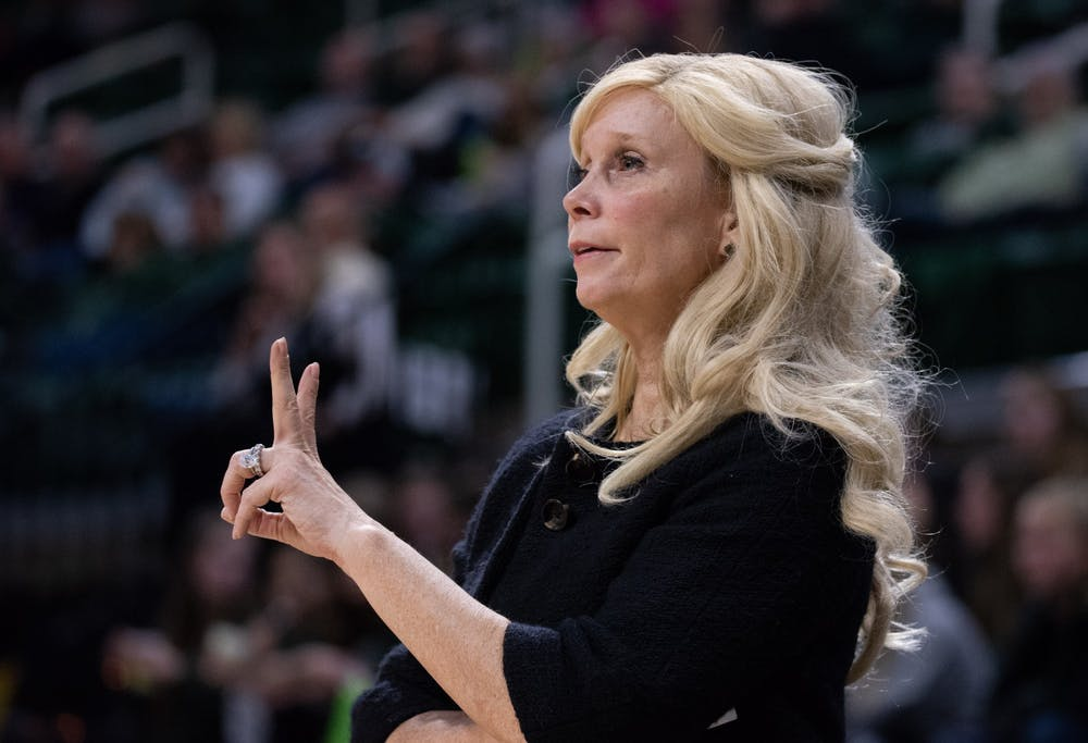 <p>Head Coach Suzy Merchant looks to the court during the game against Minnesota on Feb. 17, 2020, at the Breslin Center. The Spartans defeated the Golden Gophers, 66-54.</p>