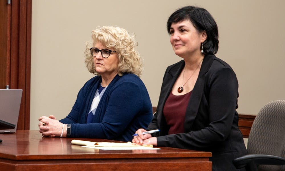 <p>Ex-MSU gymnastics coach Kathie Klages during a status update on March.14, 2019 at Ingham County Circuit Court.</p>