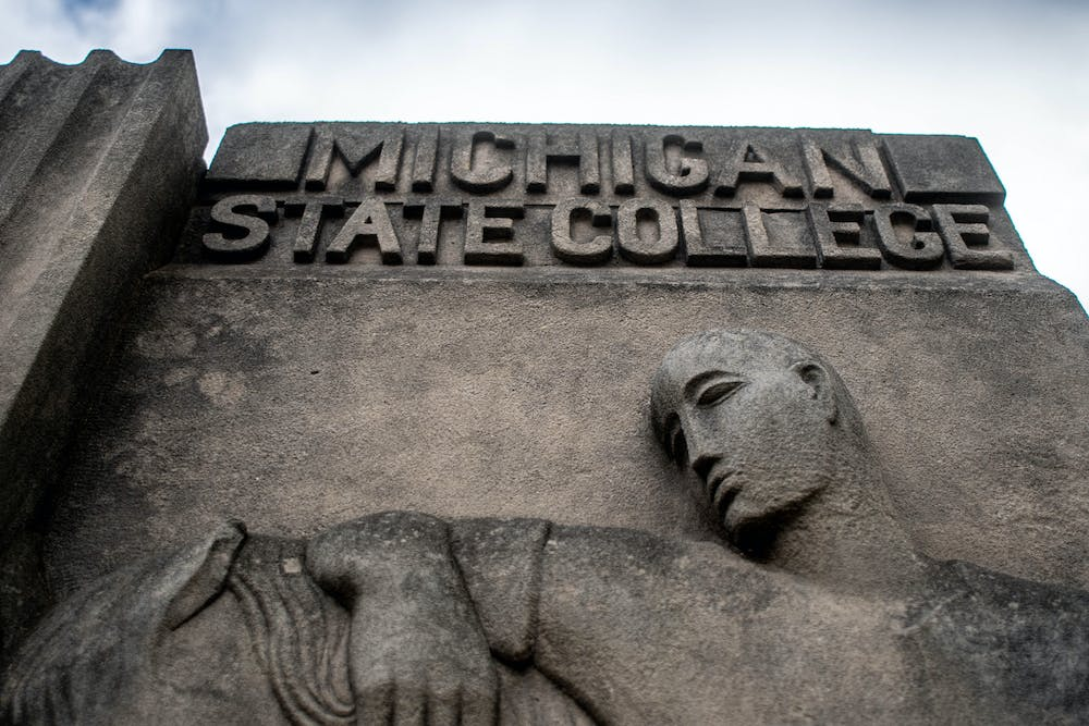 "The ""Michigan State College"" sign next to the MSU Union on Dec. 5, 2020."