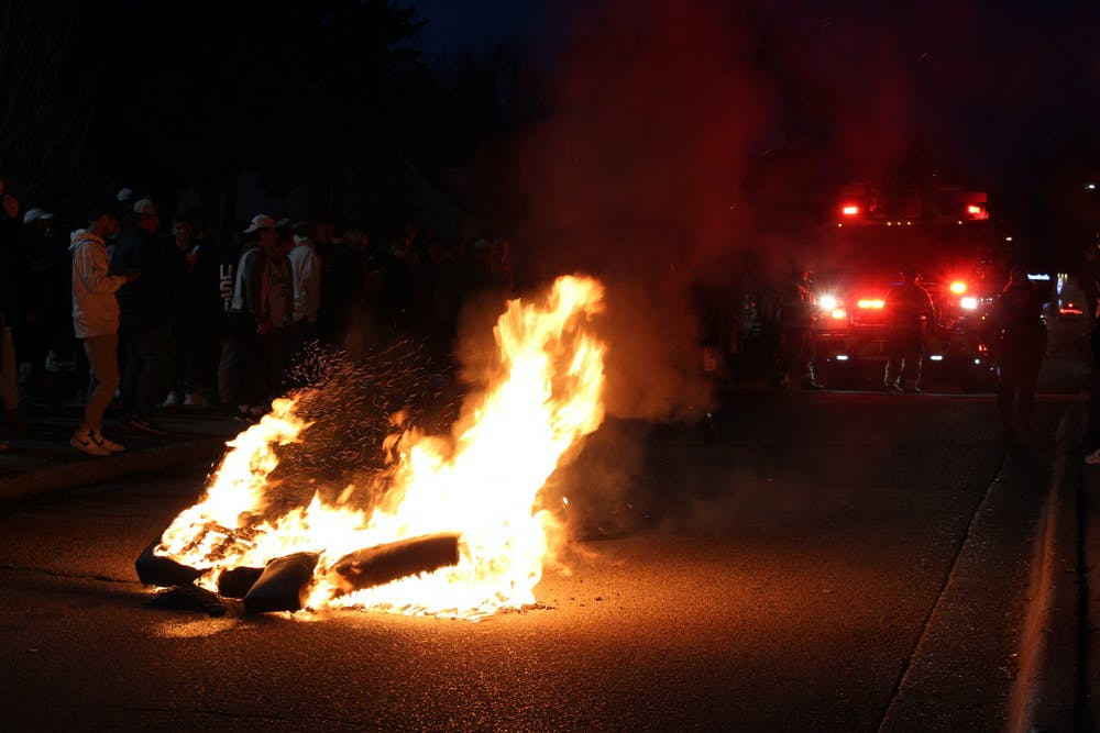 <p>East Lansing Fire Dept. showed up in Cedar Village to put out a couch fire following Michigan State&#x27;s win over the University of Michigan on March 7, 2021.</p>