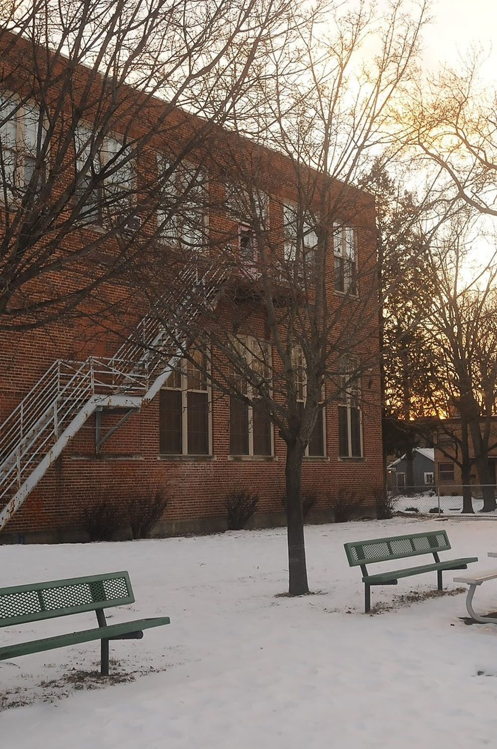 <p>Bailey Community Center playground sits empty Jan 30, 2015, 300 Bailey St East Lansing due to the recently announced closing of the building. Kennedy Thatch/The State News</p>