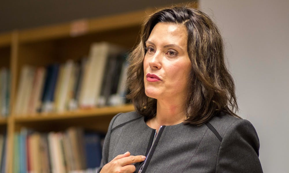 Governor candidate Gretchen Whitmer speaks during the Know Your Vote event on Oct. 11, 2017, at Case Hall. The event was hosted by the MSU Democrats and the MSU NAACP.