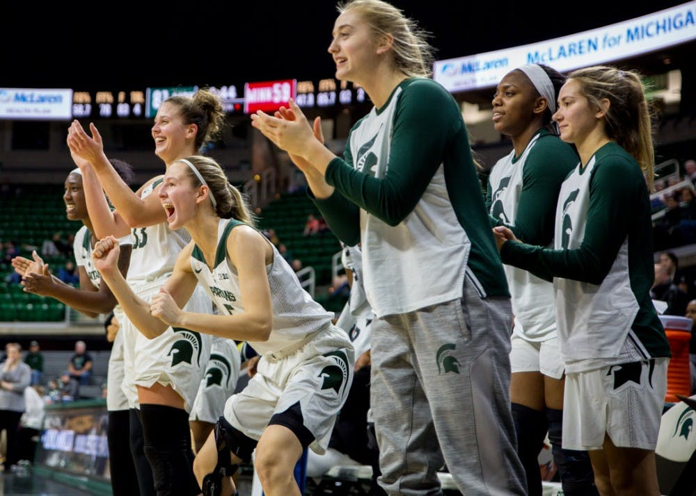 Spartans on the bench celebrate during the game against Minnesota on Jan. 9, 2019 at Breslin Center. The Spartans beat the Gophers, 86-68.