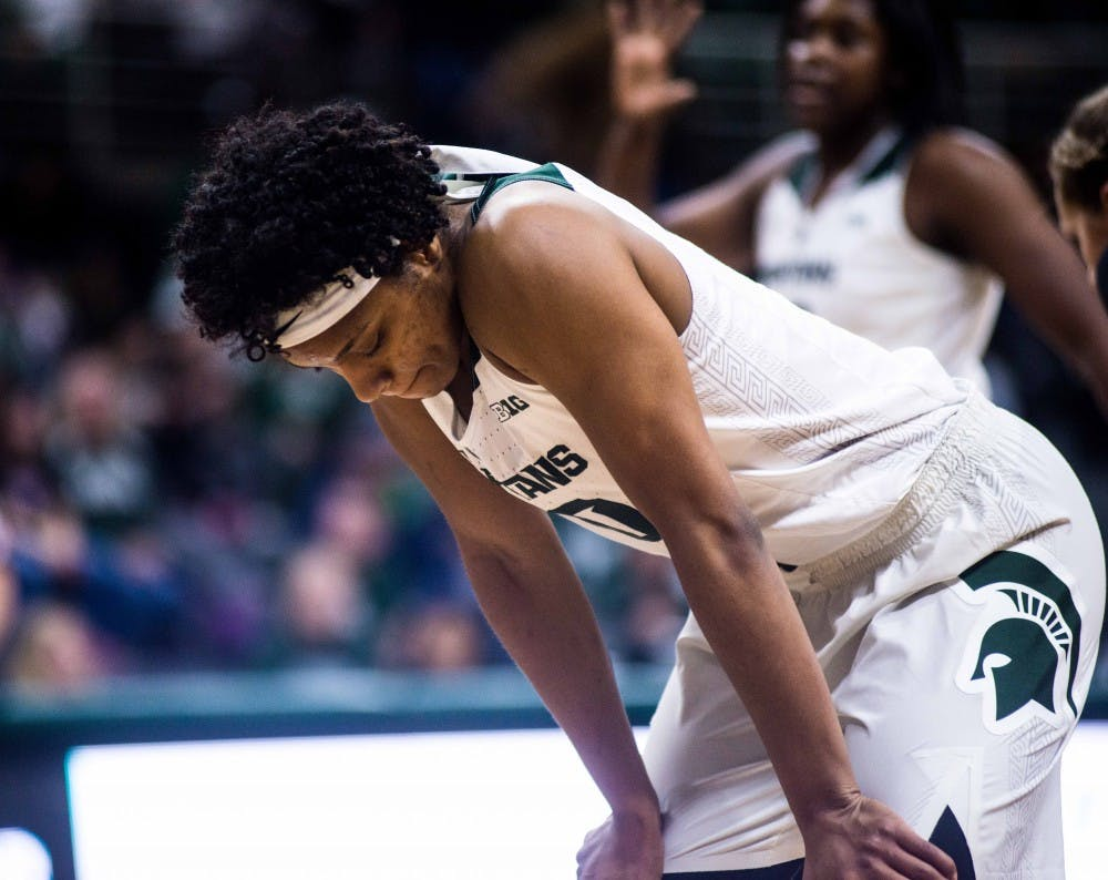 <p>Redshirt senior guard Branndais Agee (10) pauses during a break in the game against Iowa on Feb. 1, 2018, at the Breslin Center. The Spartans fell to the Hawkeyes, 71-68 in overtime. (State News | Annie Barker)</p> <p><br></p>
