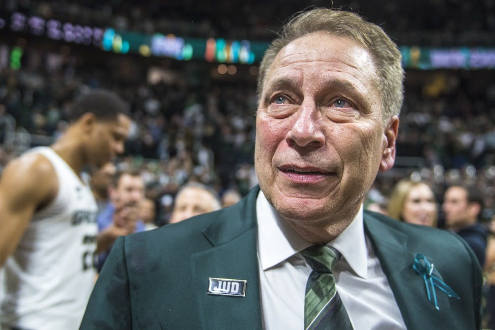 <p>Michigan State's coach Tom Izzo holds back tears after the men&#x27;s basketball game against Purdue on Feb. 10, 2018 at Breslin Center. The Spartans defeated the Boilermakers, 68-65. (Nic Antaya | The State News)</p>