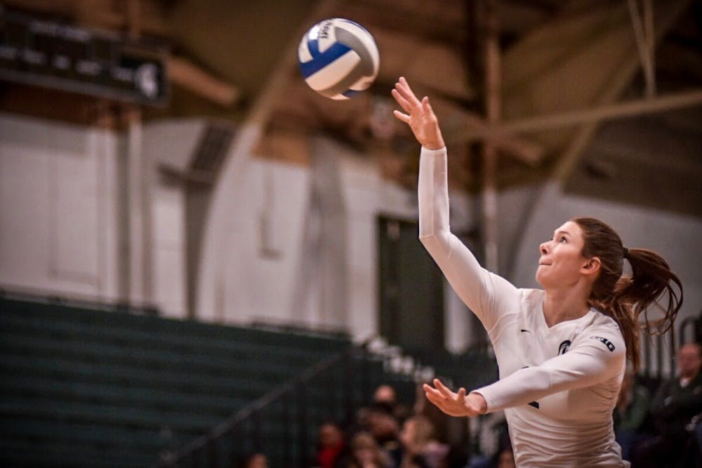 Redshirt senior outside hitter Autumn Bailey (2) serves the ball during the game against Northwestern on Nov. 11, 2017 at Jenison Fieldhouse. The Spartans defeated the Wildcats, 3-0.