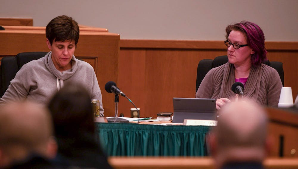 <p>Councilmember Jessy Gregg listens as Mayor Ruth Beier addresses the audience during the City Council discussion-only meeting on Feb. 18, 2020.<br/><br/></p>