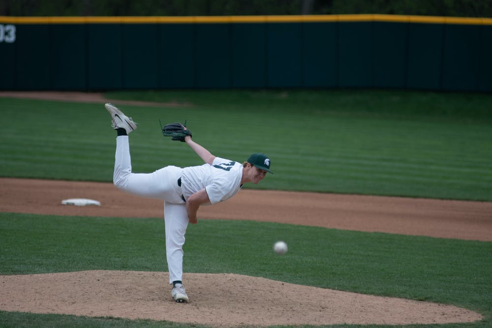 Michigan State's Nick Smith (37) pitching in the game against Purdue on April 12, 2021 at McLane Stadium at Kob's Field in East Lansing. The Spartans lost 8-2.