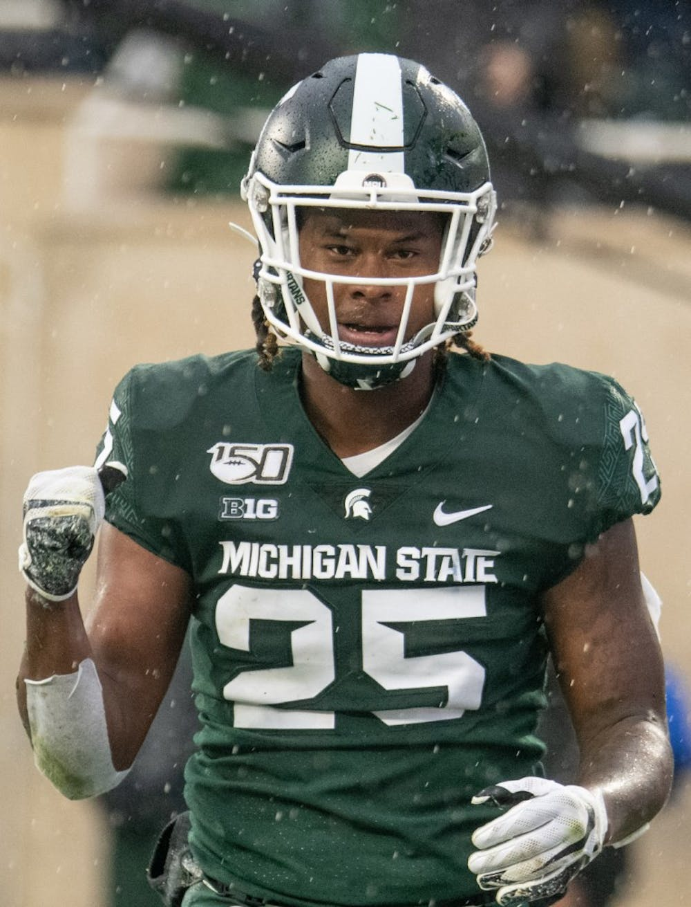 <p>Redshirt senior wide receiver Darrell Stewart (25) celebrates during the game against Penn State Oct. 26, 2019 at Spartan Stadium. The Spartans fell to the Nittany Lions, 28-7.</p>