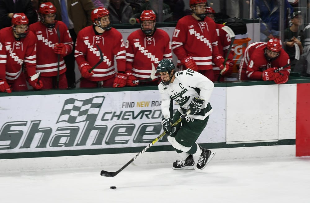 Senior Forward Sam Saliba (10) during the game against Wisconsin at the Munn Ice Arena on December 6, 2019. The Spartans defeated the Badgers 3-0.
