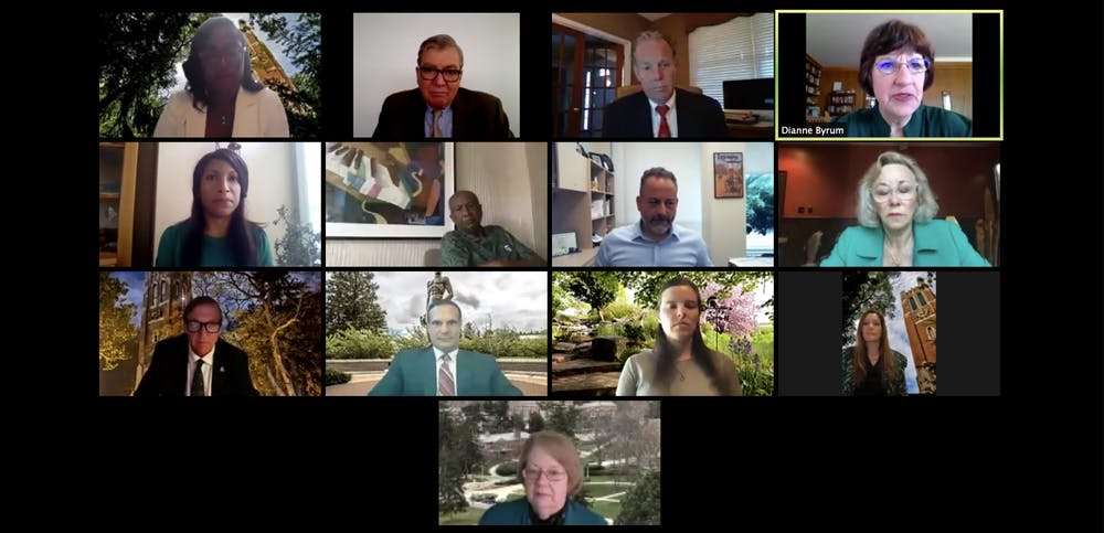 <p>MSU Board of Trustees chairperson Dianne Byrum addresses the trustees at their June 26 virtual meeting.</p>