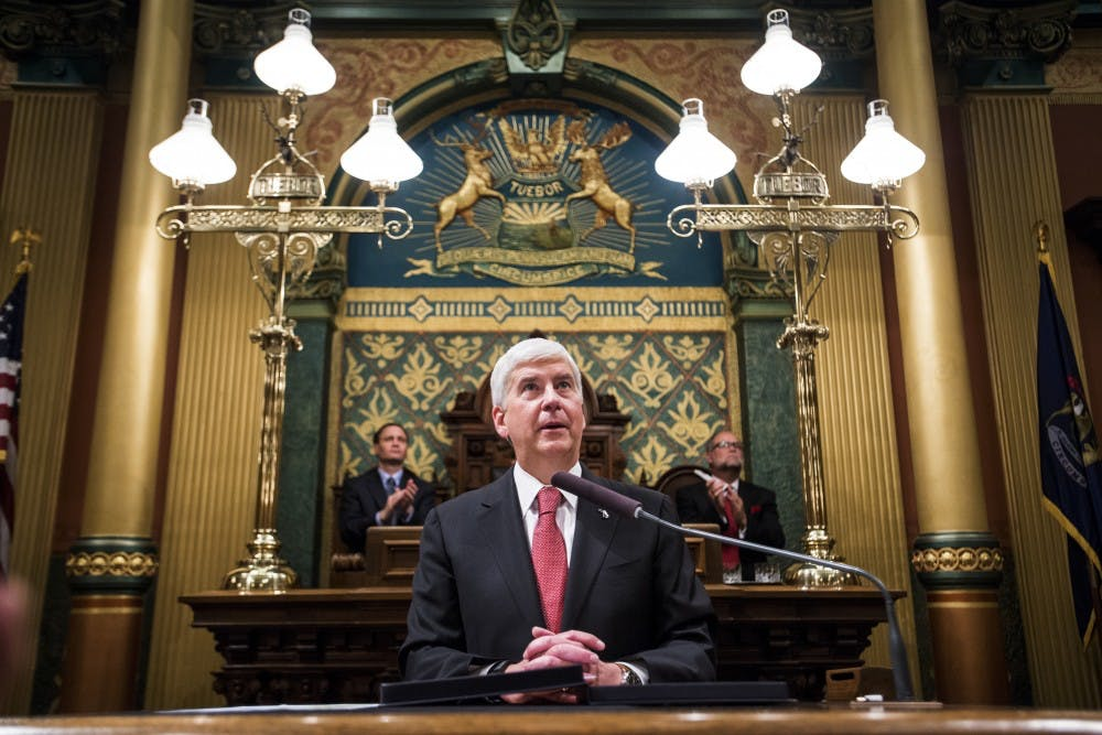 Gov. Rick Snyder addresses the audience on Jan. 17, 2017 during the State of the State Address at the Capitol in Lansing.