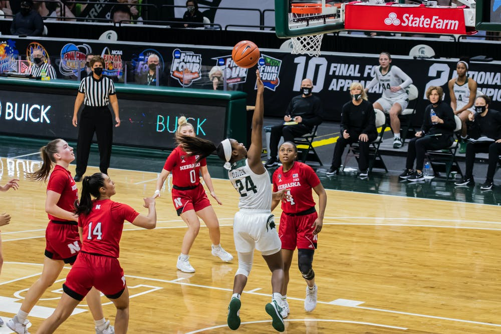Junior guard Nia Clouden lays the ball in during the Spartans' 68-64 loss to Nebraska on Jan. 10, 2021.