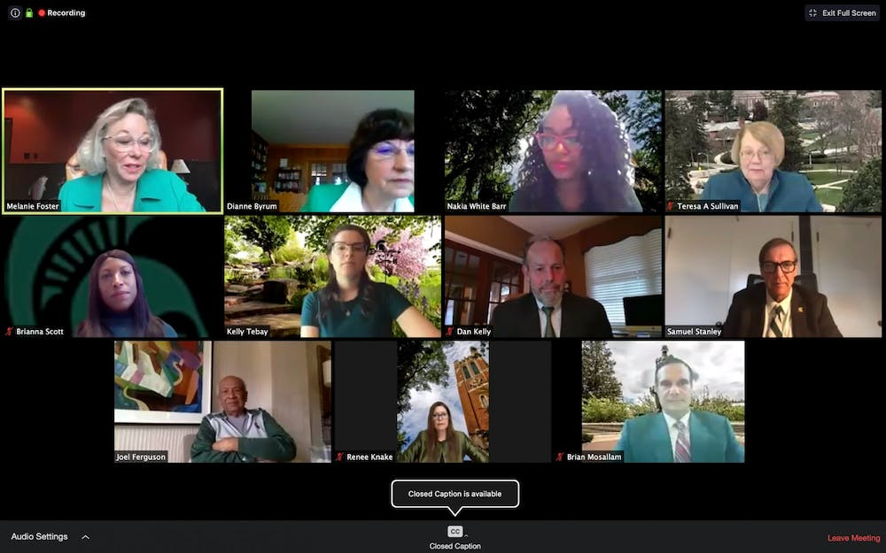 Michigan State's Board of Trustees hold a virtual meeting on Zoom on May 15, 2020.