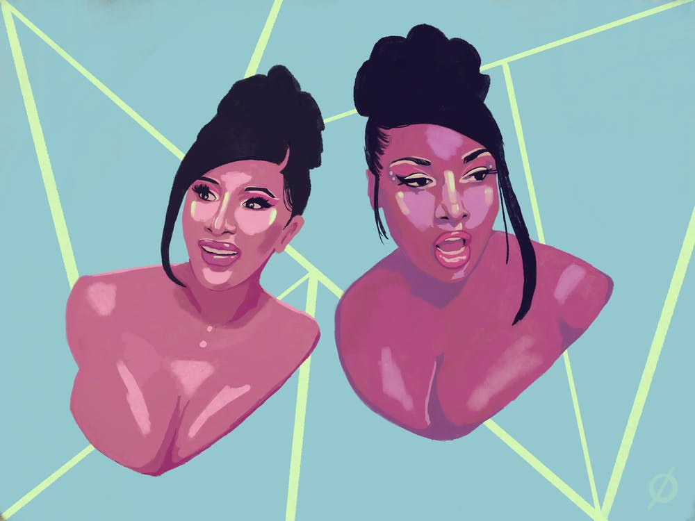 <p>Illustration of Cardi B and Megan Thee Stallion from their &quot;WAP&quot; video. Illustrated by Daena Faustino.</p>
