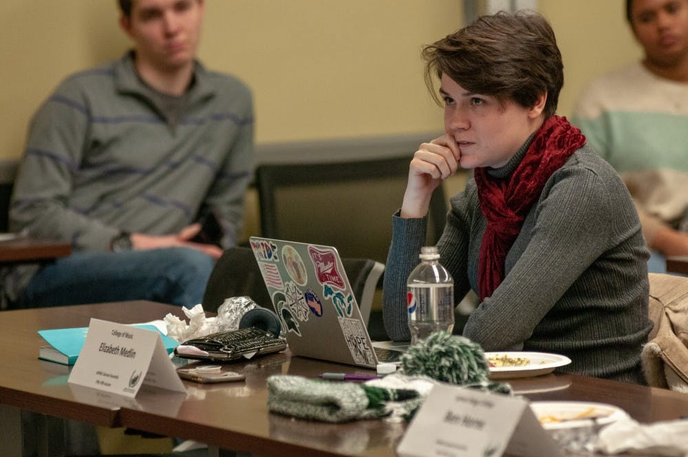 ASMSU College of Music Representative Elizabeth Medlin gives their opinion during an ASMSU General Assembly meeting on Feb, 1, 2019.