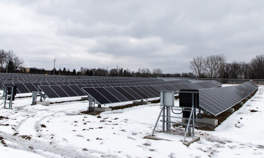 Pictured are some solar panels photographed  at the East Lansing Solar Park on Jan. 24, 2019 at Burcham Park in East Lansing.