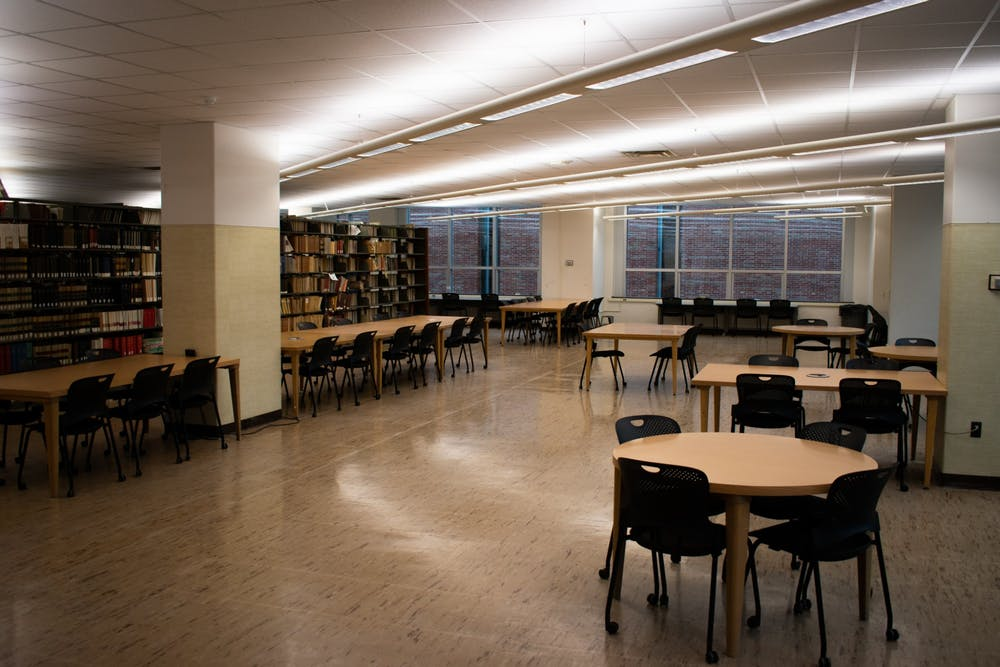 <p>The third floor of the MSU Library is clear of people after MSU halted in-person classes due to the coronavirus on March 11, 2020.</p>