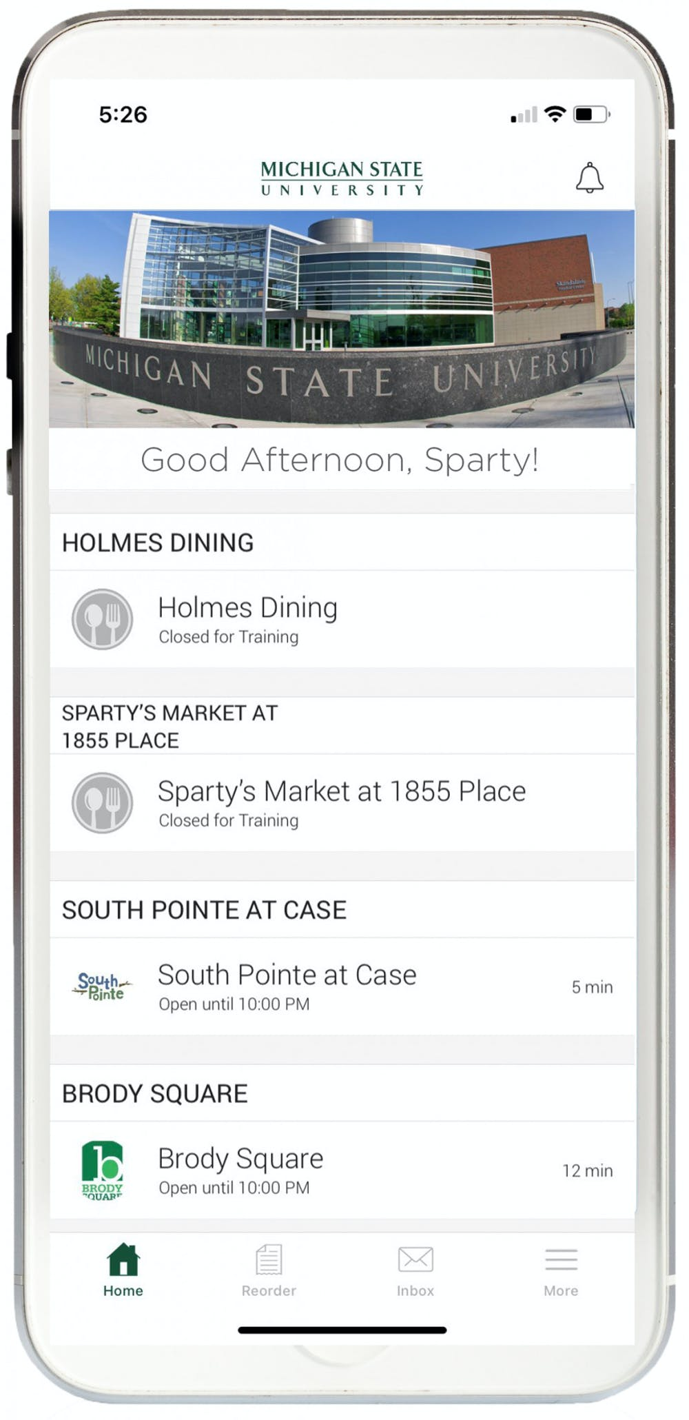 <p>A screenshot of the Eat At State app. Photo courtesy of Leah Ball</p>