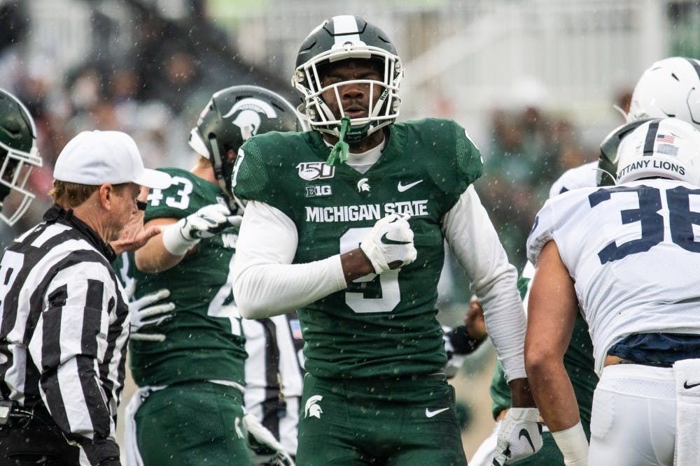 <p>Junior safety Dominique Long (9) pounds his chest during the game against Penn State Oct. 26, 2019 at Spartan Stadium. The Spartans fell to the Nittany Lions, 28-7.</p>