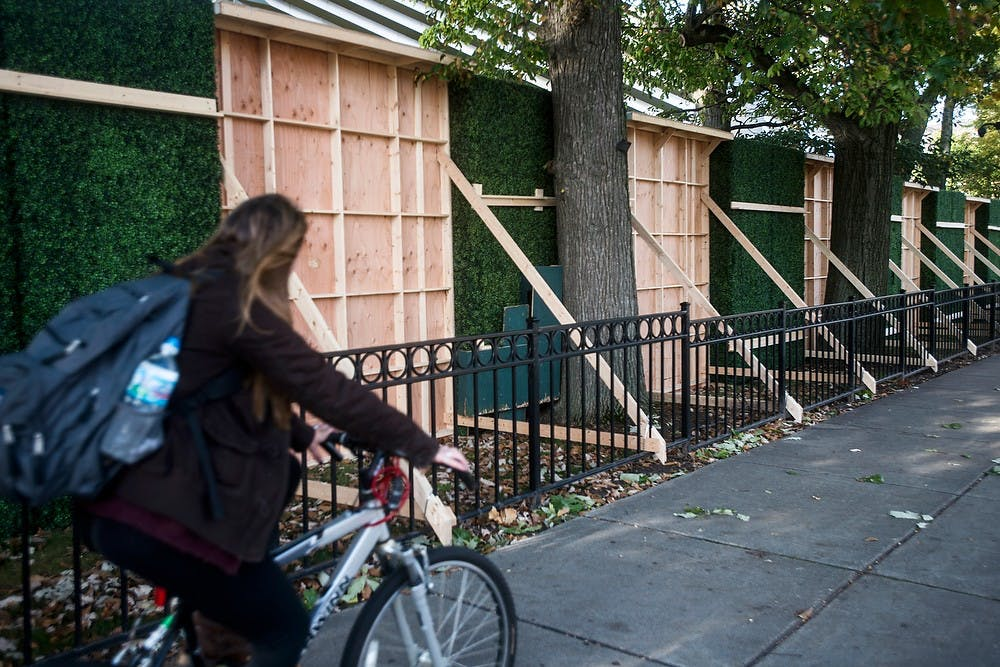 <p>Walls under construction stand Oct. 6, 2014, outside of Eli and Edythe Broad Art Museum. Erin Hampton/The State News</p>