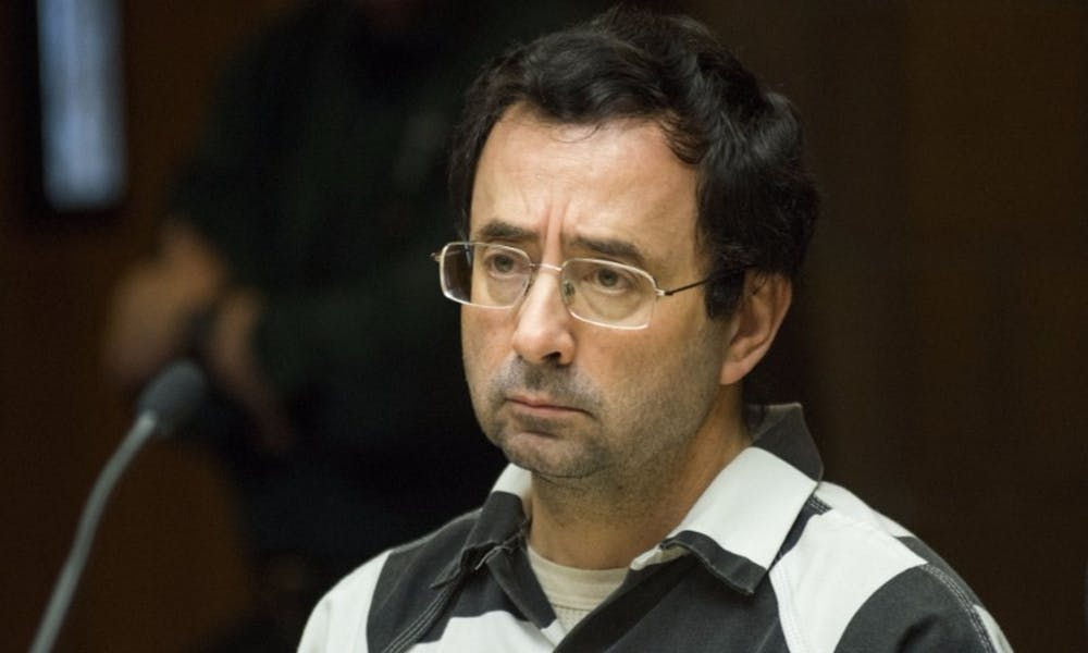 <p>Former MSU employee Larry Nassar looks towards the 55th District Court Judge Donald L. Allen Jr. during the preliminary examination on Feb. 17, 2017 at 55th District Court in Mason, Mich. The preliminary examination occurred as a result of former MSU employee Larry Nassar's alleged sexual abuse.</p>