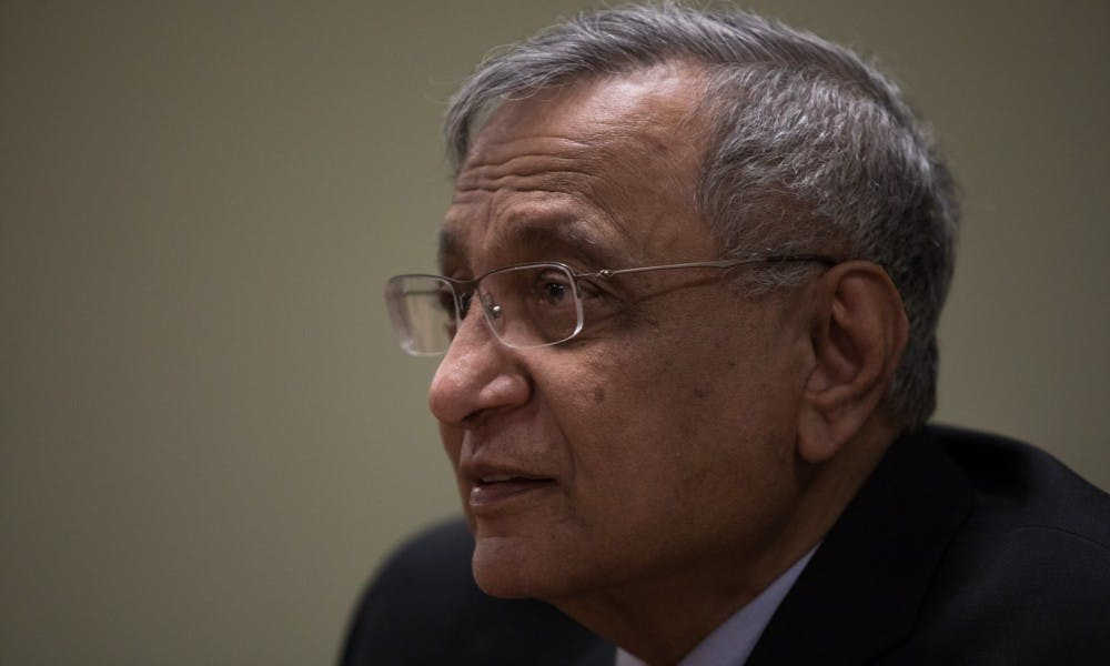 <p>Acting President of Michigan State University Satish Udpa sits down with the State News Editorial Board at the State News office April 17, 2019.</p>