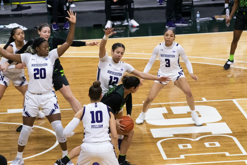 Sophomore Moira Joiner defends the ball against Northwestern on Feb. 7, 2021.