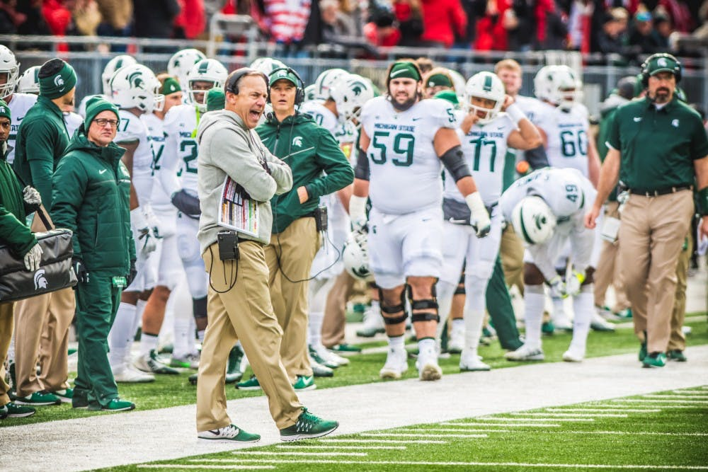Head coach Mark Dantonio yells at players during the game against Ohio State, on Nov. 11, 2017, at Ohio Stadium. The Spartans were defeated by the Buckeys, 48-3.
