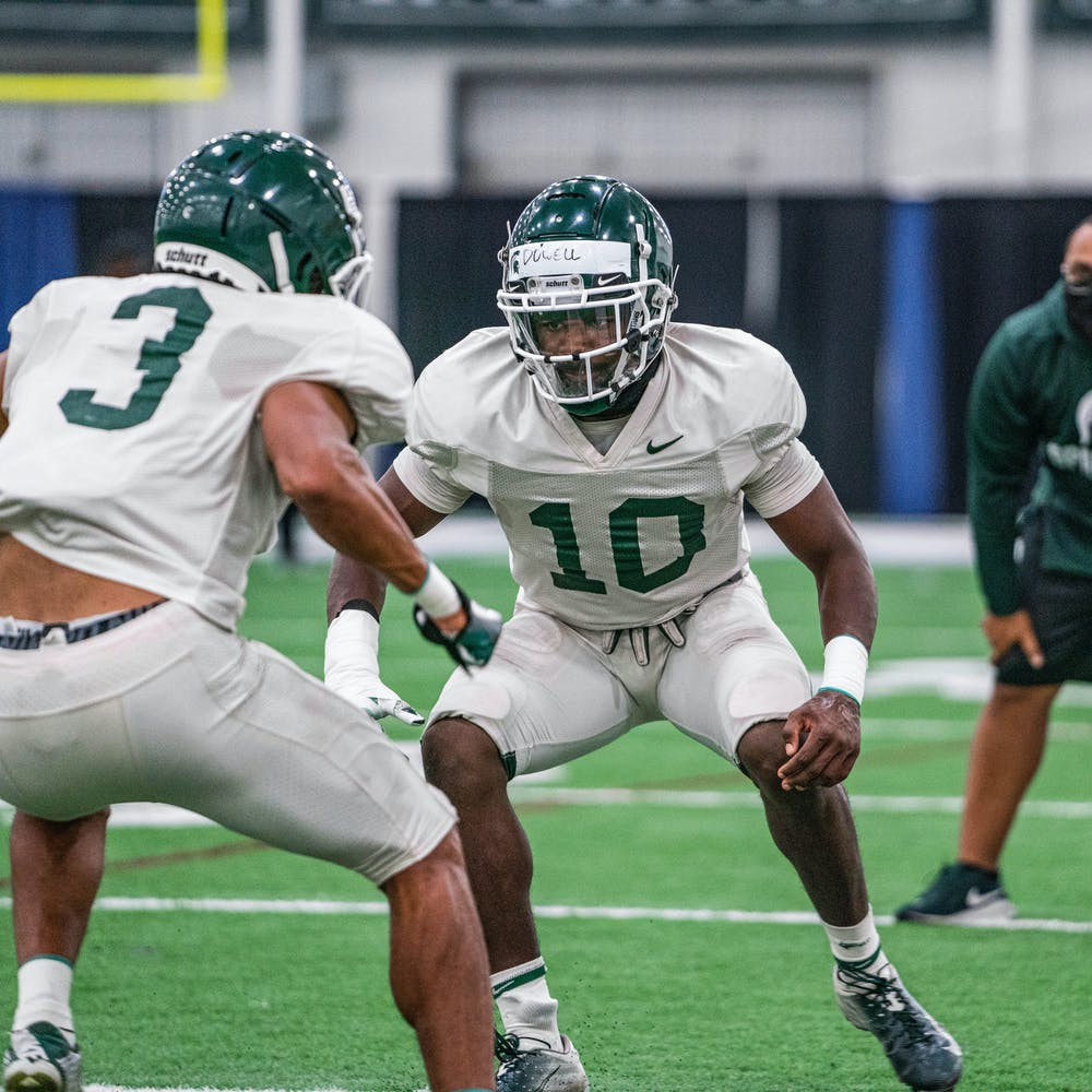 <p>Redshirt sophomore safety Michael Dowell prepares to play defense during practice on Oct. 1, 2020. Dowell is the final of three Dowell brothers to go through the Michigan State football program. </p>