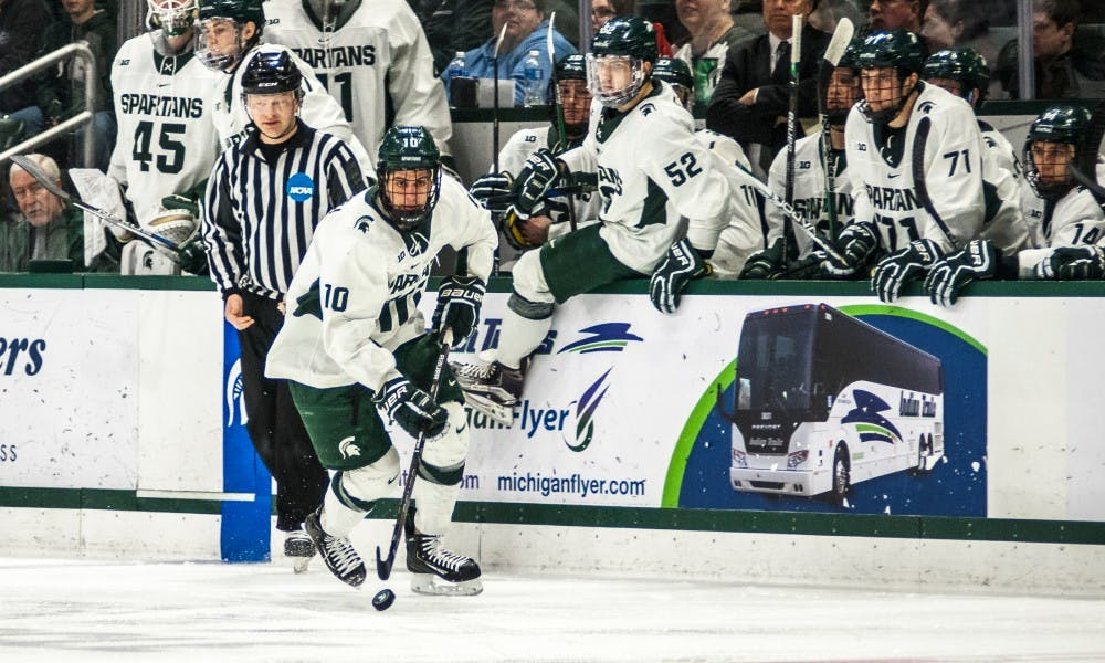 freshman center Sam Saliba (10) looks for an opportunity to score during the game against Ohio State on Feb. 17, 2017 at Munn Arena. The Spartans were defeated by the buckeyes, 3-2.