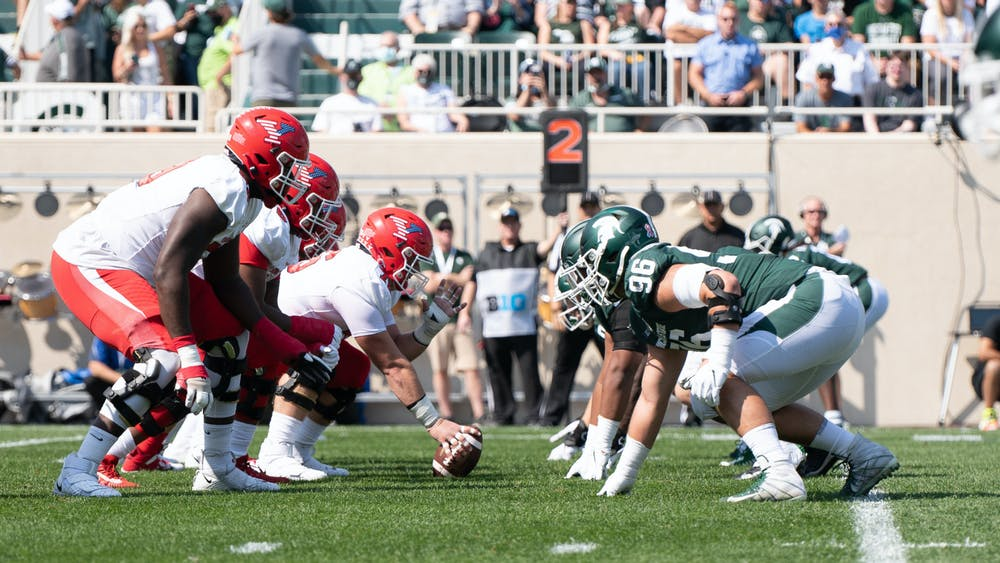 <p>The Spartans prepare for defense against the Penguins of Youngstown State Sep. 11, 2021. The Spartans won the game against Youngstown State 42-14 at Spartan Stadium.</p>