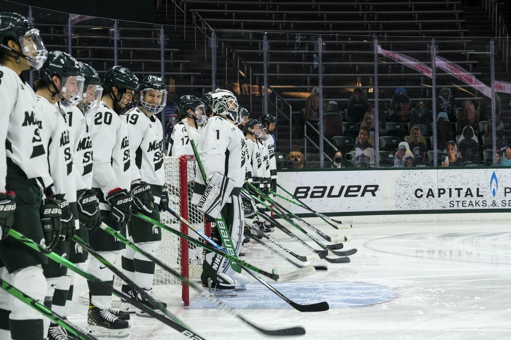 <p>MSU hockey gets ready for another game against Michigan on January 9, 2021 at Munn Ice Arena. The Spartans defeated the Woverines, 3-2.</p>