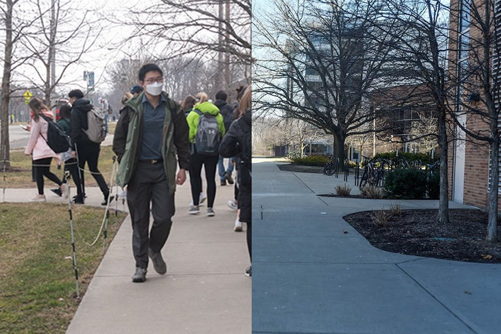 <p>LEFT: Michigan State University students attend their last in-person class of the semester after receiving news that MSU would transition to online-only classes on March 11, 2020. Photo by Di&#x27;Amond Moore</p><p>RIGHT: A sidewalk near the Chemistry Building on March 25, 2020. East Lansing is largely silent amid the coronavirus pandemic. Photo by Annie Barker</p>