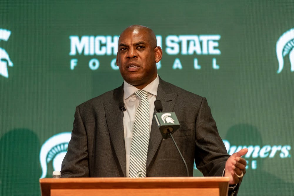 <p>New head football coach Mel Tucker speaks at his introductory press conference at the Breslin Student Events Center on Feb. 12, 2020.</p>