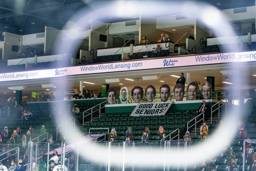 It was senior night for the Spartans at Munn Ice Arena, which left the attendees and players with tears in their eyes. The Fighting Irish shutout the Spartans 2-0 on Feb. 27, 2021.
