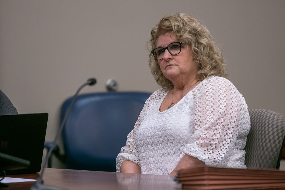 <p>Former MSU gymnastics coach Kathie Klages sits at a motion to strike an expert witness on Feb. 5, 2020 at Veterans Memorial Court.</p>