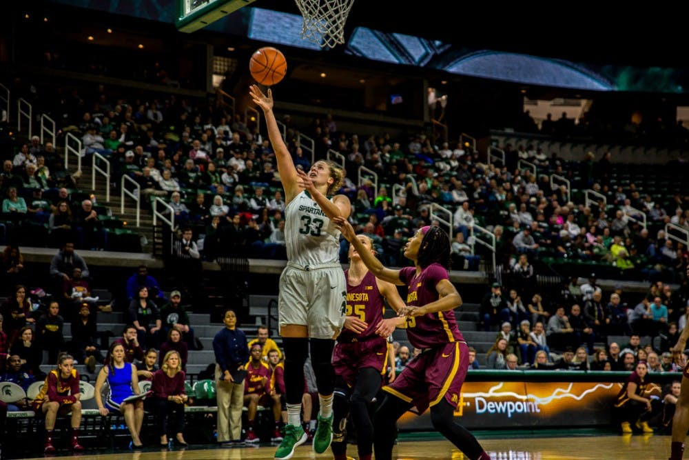 <p>Senior center Jenna Allen (33) goes up for a layup during the first half of the game against Minnesota on Jan. 9, 2019 at Breslin Center. The Spartans lead the Gophers, 43-29 at halftime.</p>