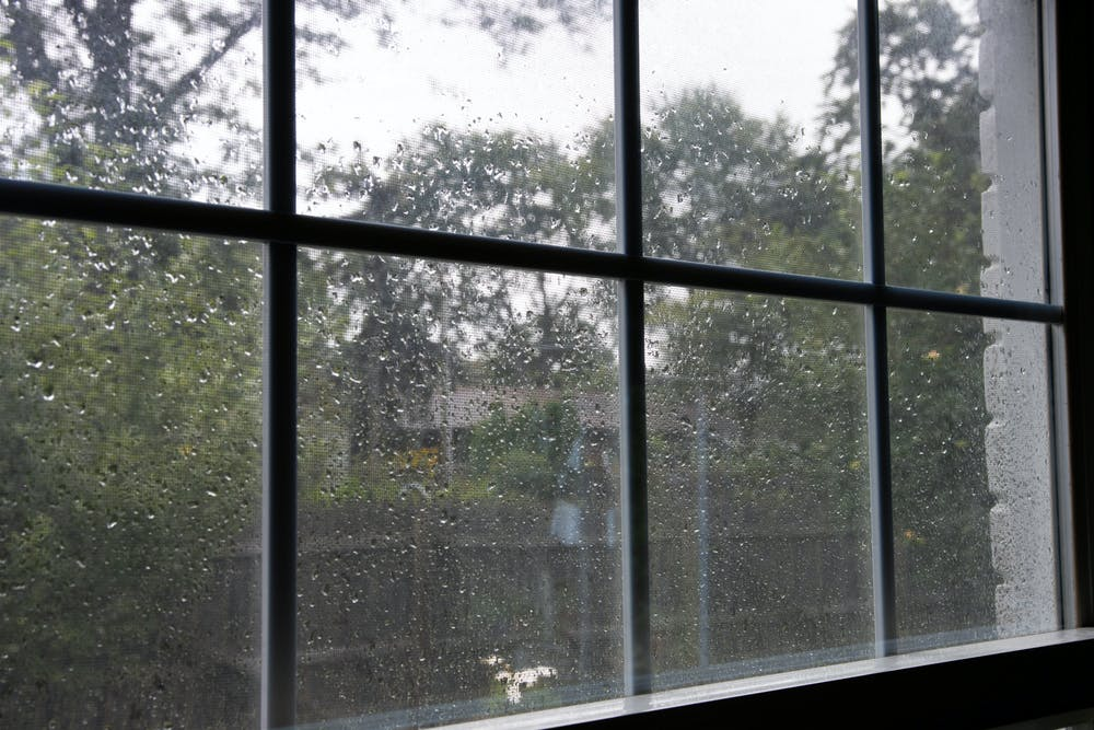 <p>Rain drops on a window after a storm.</p>