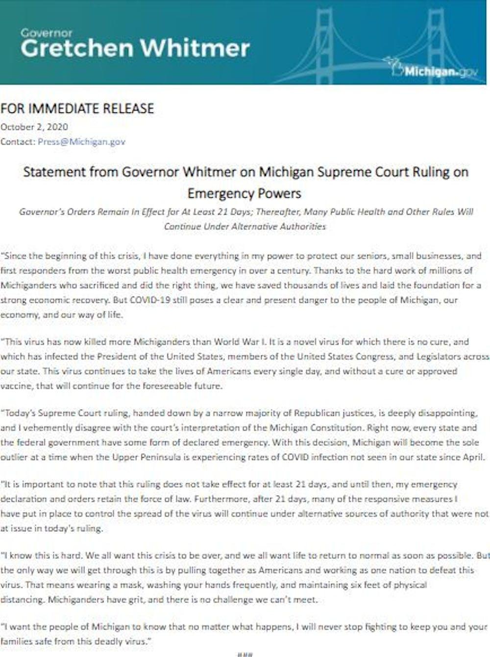 whitmer-statement