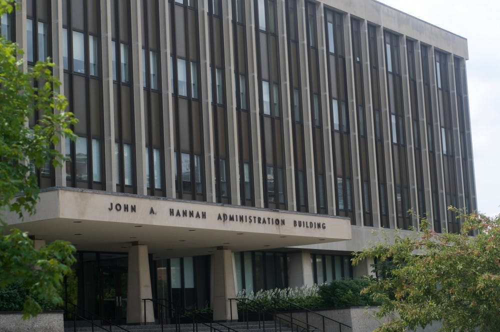 <p>Hannah Administration Building on Aug. 29, 2015. Courtney Kendler/The State News</p>